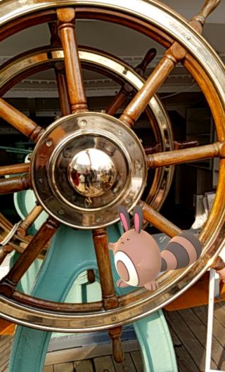 手動舵輪を押すオタチ