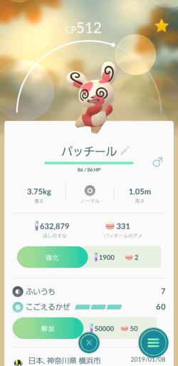Pokémon GO_パッチール5番 一体目
