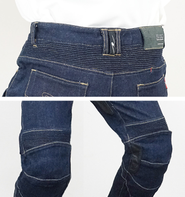 履き口背部・膝部にシャーリングパネルを配置